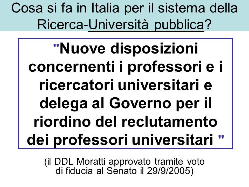 Nuove disposizioni concernenti i professori e i ricercatori universitari e delega al Governo per il riordino del reclutamento dei professori universitari (il DDL Moratti approvato tramite voto di fiducia al Senato il 29/9/2005) Cosa si fa in Italia per il sistema della Ricerca-Università pubblica