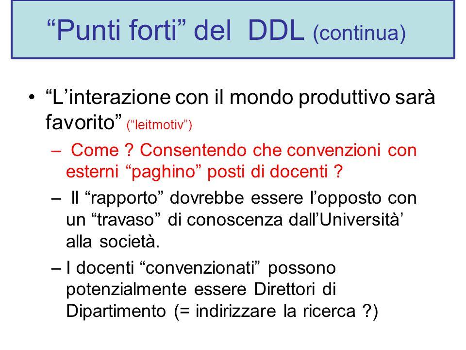 Punti forti del DDL (continua) L'interazione con il mondo produttivo sarà favorito ( leitmotiv ) – Come .