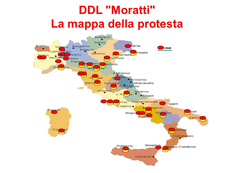 DDL Moratti La mappa della protesta