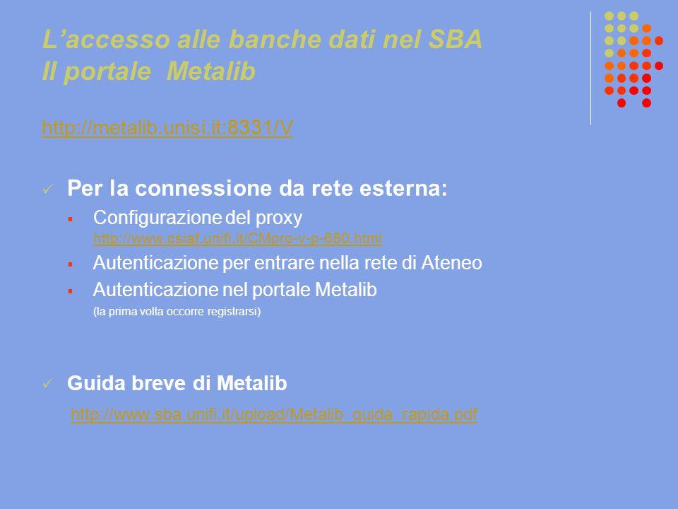 L'accesso alle banche dati nel SBA Il portale Metalib http://metalib.unisi.it:8331/V Per la connessione da rete esterna:  Configurazione del proxy ht