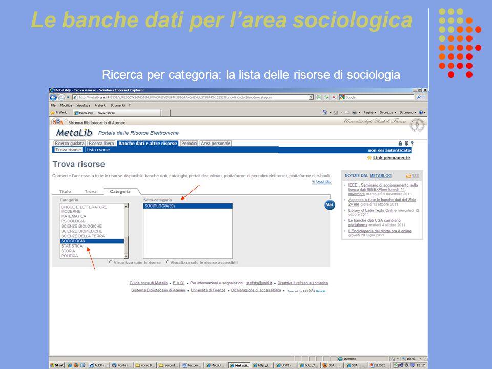 Le banche dati per l'area sociologica Ricerca per categoria: la lista delle risorse di sociologia
