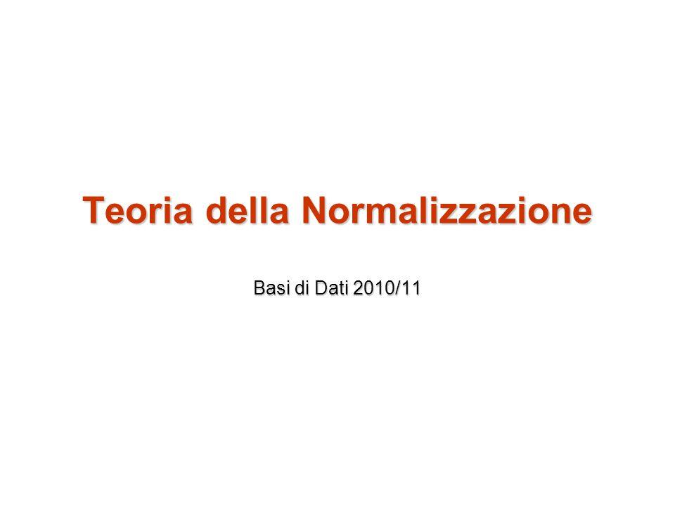 Teoria della Normalizzazione Basi di Dati 2010/11