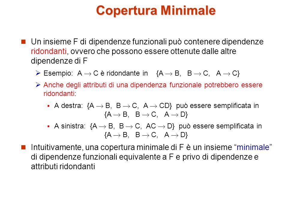 Copertura Minimale Un insieme F di dipendenze funzionali può contenere dipendenze ridondanti, ovvero che possono essere ottenute dalle altre dipendenze di F  Esempio: A  C è ridondante in {A  B, B  C, A  C}  Anche degli attributi di una dipendenza funzionale potrebbero essere ridondanti:  A destra: {A  B, B  C, A  CD} può essere semplificata in {A  B, B  C, A  D}  A sinistra: {A  B, B  C, AC  D} può essere semplificata in {A  B, B  C, A  D} Intuitivamente, una copertura minimale di F è un insieme minimale di dipendenze funzionali equivalente a F e privo di dipendenze e attributi ridondanti