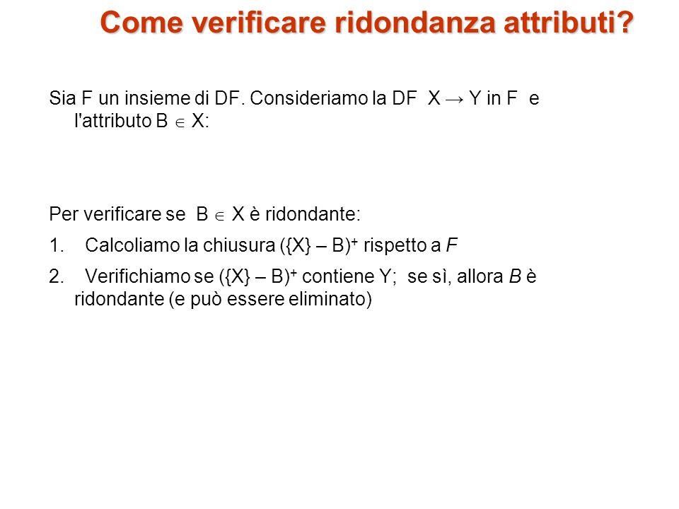 Come verificare ridondanza attributi.Sia F un insieme di DF.