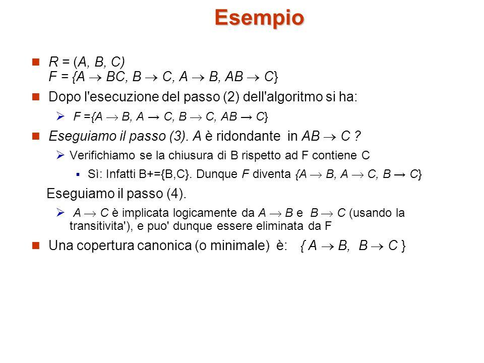 Esempio R = (A, B, C) F = {A  BC, B  C, A  B, AB  C} Dopo l esecuzione del passo (2) dell algoritmo si ha:  F ={A  B, A → C, B  C, AB → C} Eseguiamo il passo (3).