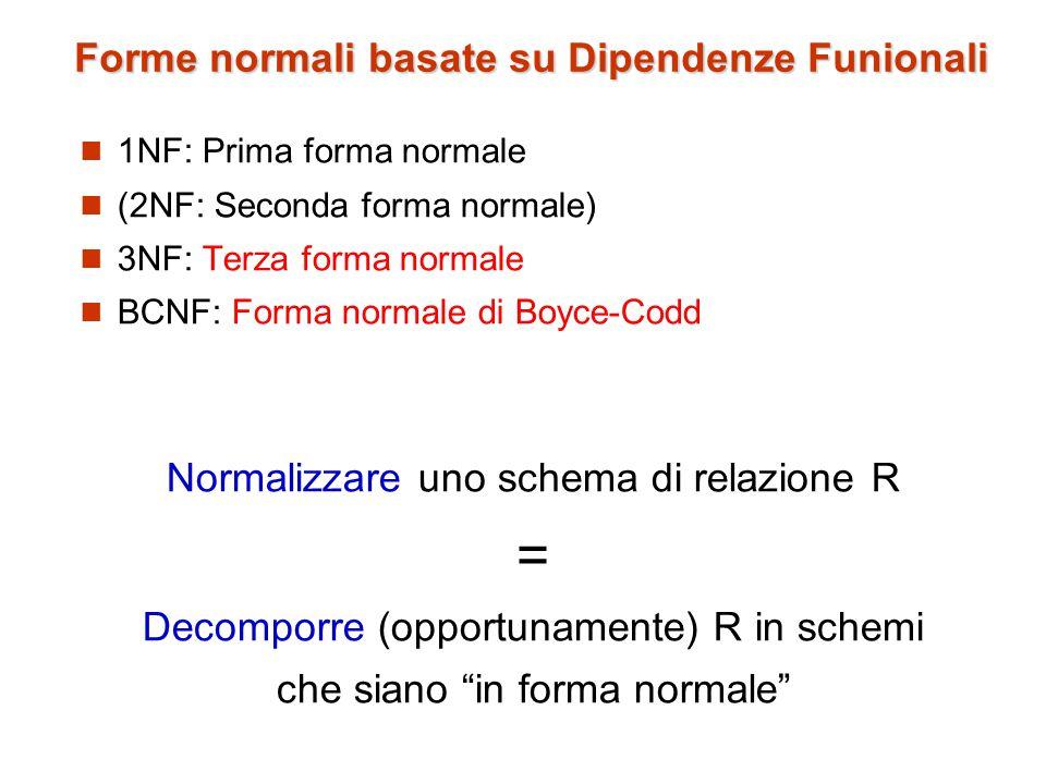 Forme normali basate su Dipendenze Funionali 1NF: Prima forma normale (2NF: Seconda forma normale) 3NF: Terza forma normale BCNF: Forma normale di Boyce-Codd Normalizzare uno schema di relazione R = Decomporre (opportunamente) R in schemi che siano in forma normale