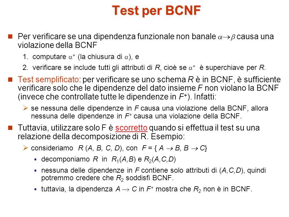 Test per BCNF Per verificare se una dipendenza funzionale non banale    causa una violazione della BCNF 1.