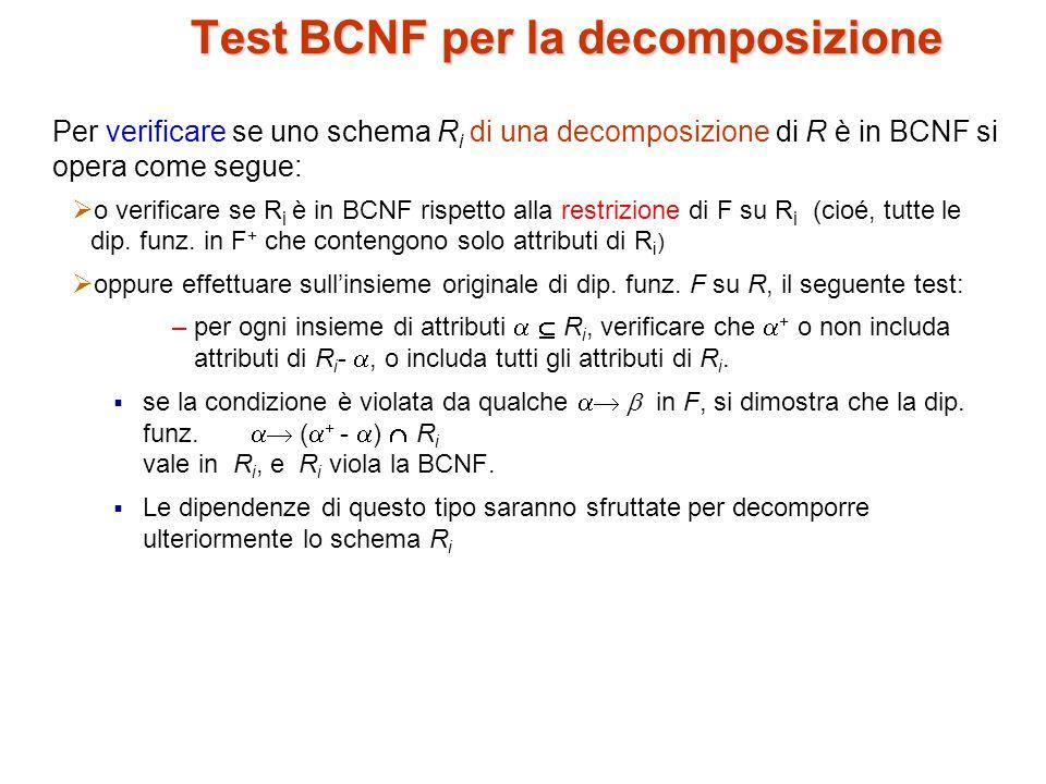 Test BCNF per la decomposizione Per verificare se uno schema R i di una decomposizione di R è in BCNF si opera come segue:  o verificare se R i è in BCNF rispetto alla restrizione di F su R i (cioé, tutte le dip.