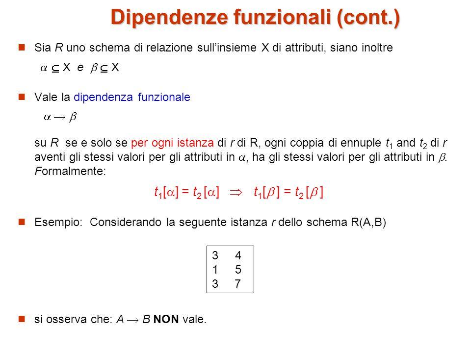 Dipendenze funzionali (cont.) Sia R uno schema di relazione sull'insieme X di attributi, siano inoltre   X e   X Vale la dipendenza funzionale    su R se e solo se per ogni istanza di r di R, ogni coppia di ennuple t 1 and t 2 di r aventi gli stessi valori per gli attributi in , ha gli stessi valori per gli attributi in .
