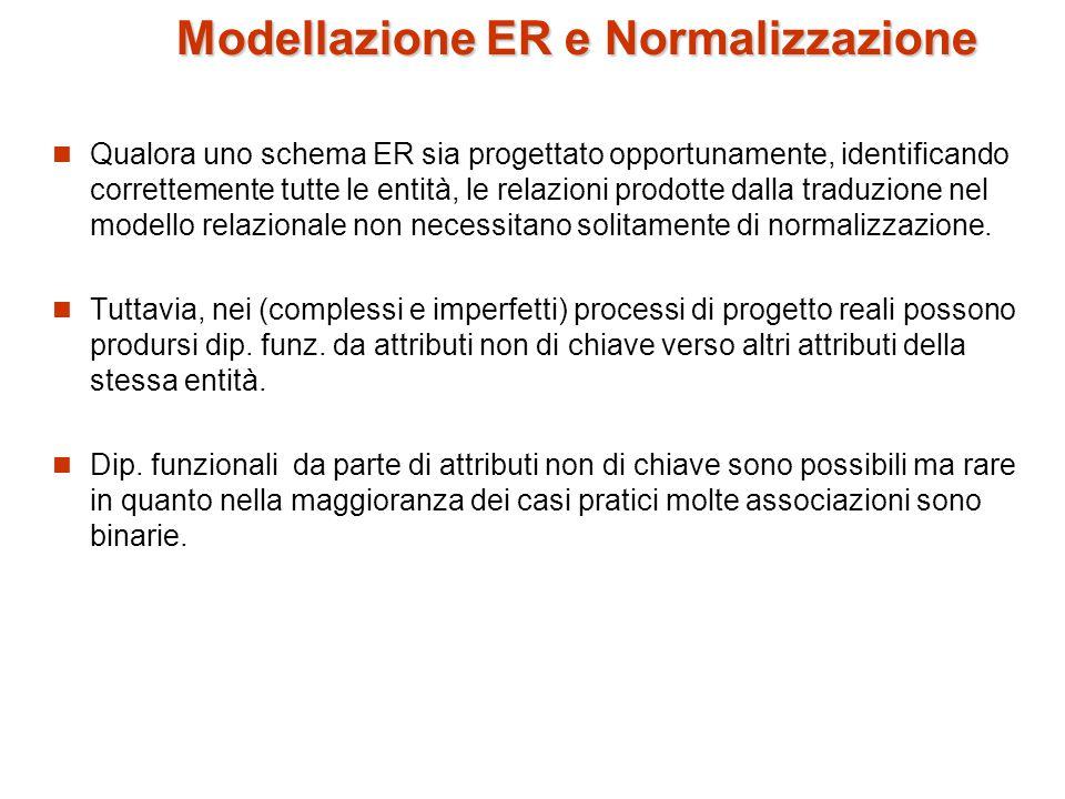 Modellazione ER e Normalizzazione Qualora uno schema ER sia progettato opportunamente, identificando correttemente tutte le entità, le relazioni prodotte dalla traduzione nel modello relazionale non necessitano solitamente di normalizzazione.