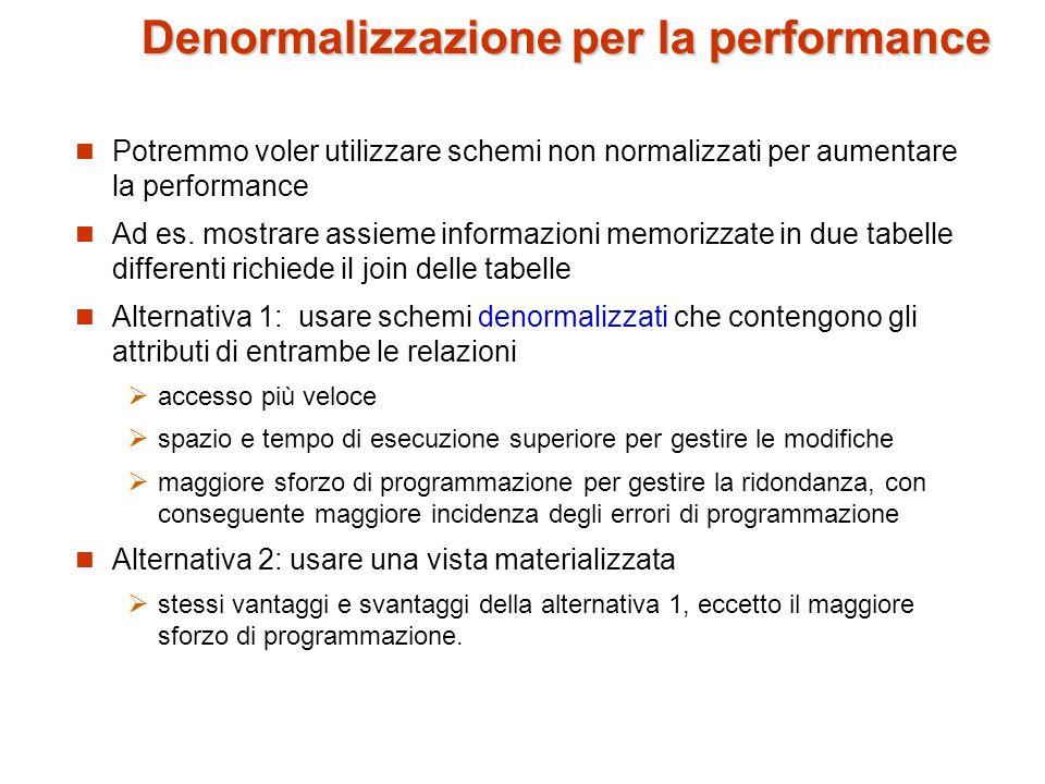 Denormalizzazione per la performance Potremmo voler utilizzare schemi non normalizzati per aumentare la performance Ad es.