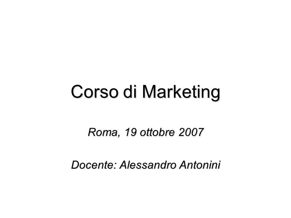 Corso di Marketing Roma, 19 ottobre 2007 Docente: Alessandro Antonini