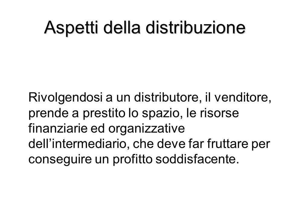 Aspetti della distribuzione Rivolgendosi a un distributore, il venditore, prende a prestito lo spazio, le risorse finanziarie ed organizzative dell'in