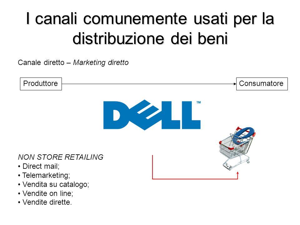 I canali comunemente usati per la distribuzione dei beni ProduttoreConsumatore Canale diretto – Marketing diretto NON STORE RETAILING Direct mail; Tel