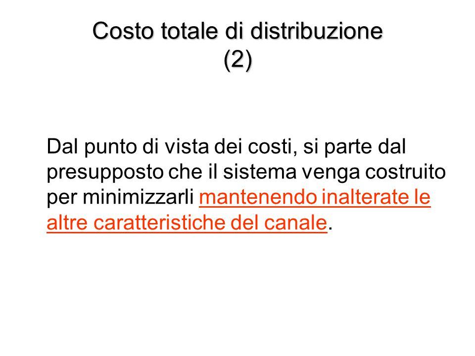 Costo totale di distribuzione (2) Dal punto di vista dei costi, si parte dal presupposto che il sistema venga costruito per minimizzarli mantenendo in