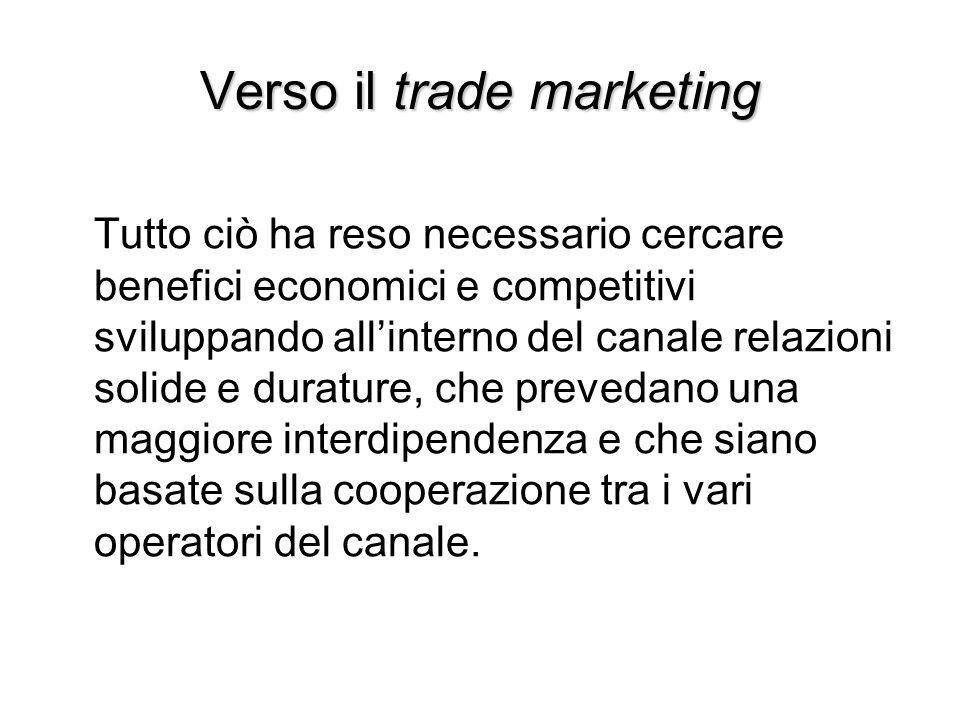 Verso il trade marketing Tutto ciò ha reso necessario cercare benefici economici e competitivi sviluppando all'interno del canale relazioni solide e d