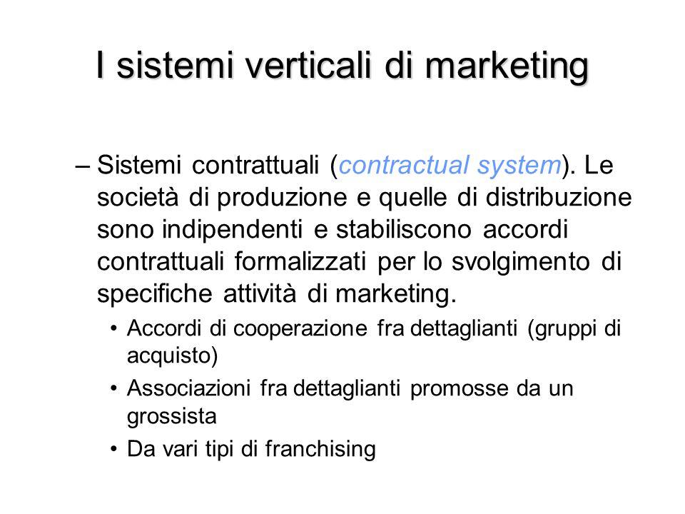 I sistemi verticali di marketing –Sistemi contrattuali (contractual system). Le società di produzione e quelle di distribuzione sono indipendenti e st