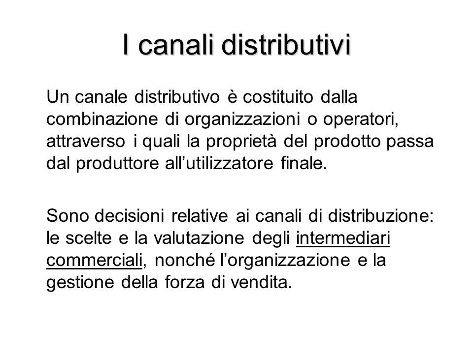 I canali distributivi Un canale distributivo è costituito dalla combinazione di organizzazioni o operatori, attraverso i quali la proprietà del prodot