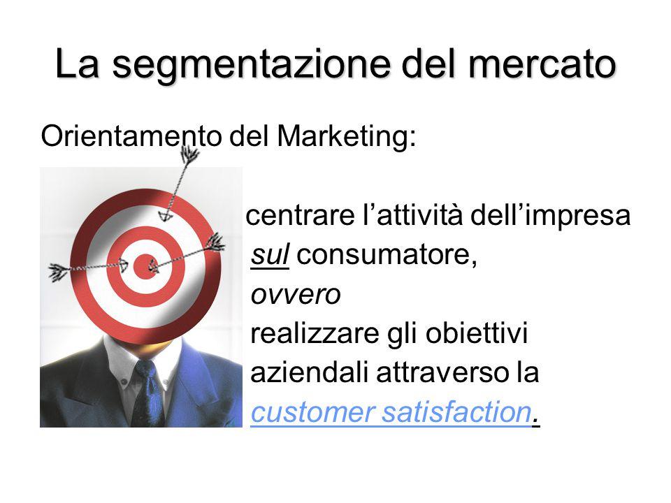 La segmentazione del mercato Orientamento del Marketing: centrare l'attività dell'impresa sul consumatore, ovvero realizzare gli obiettivi aziendali a