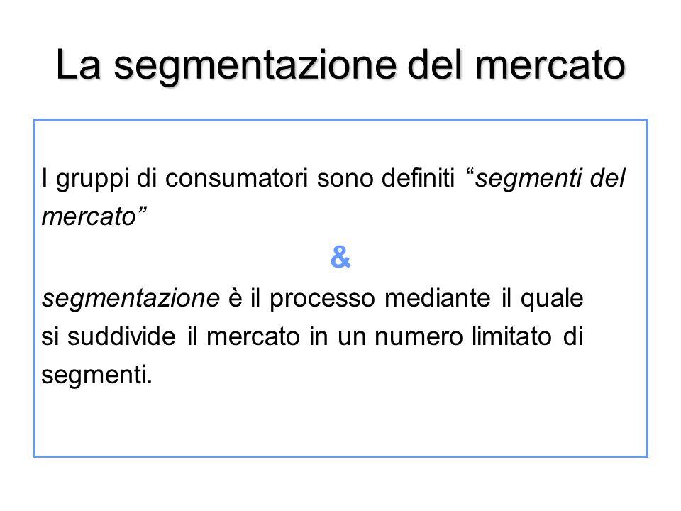 """La segmentazione del mercato I gruppi di consumatori sono definiti """"segmenti del mercato"""" & segmentazione è il processo mediante il quale si suddivide"""