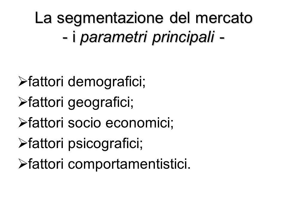 La segmentazione del mercato - i parametri principali -  fattori demografici;  fattori geografici;  fattori socio economici;  fattori psicografici