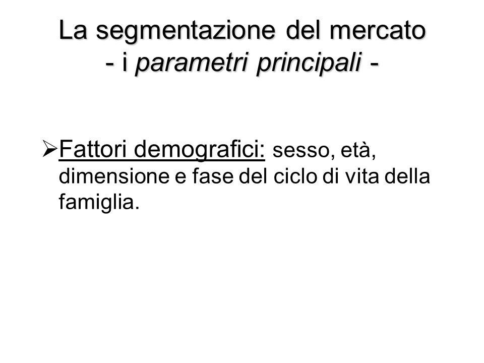 La segmentazione del mercato - i parametri principali -  Fattori demografici: sesso, età, dimensione e fase del ciclo di vita della famiglia.