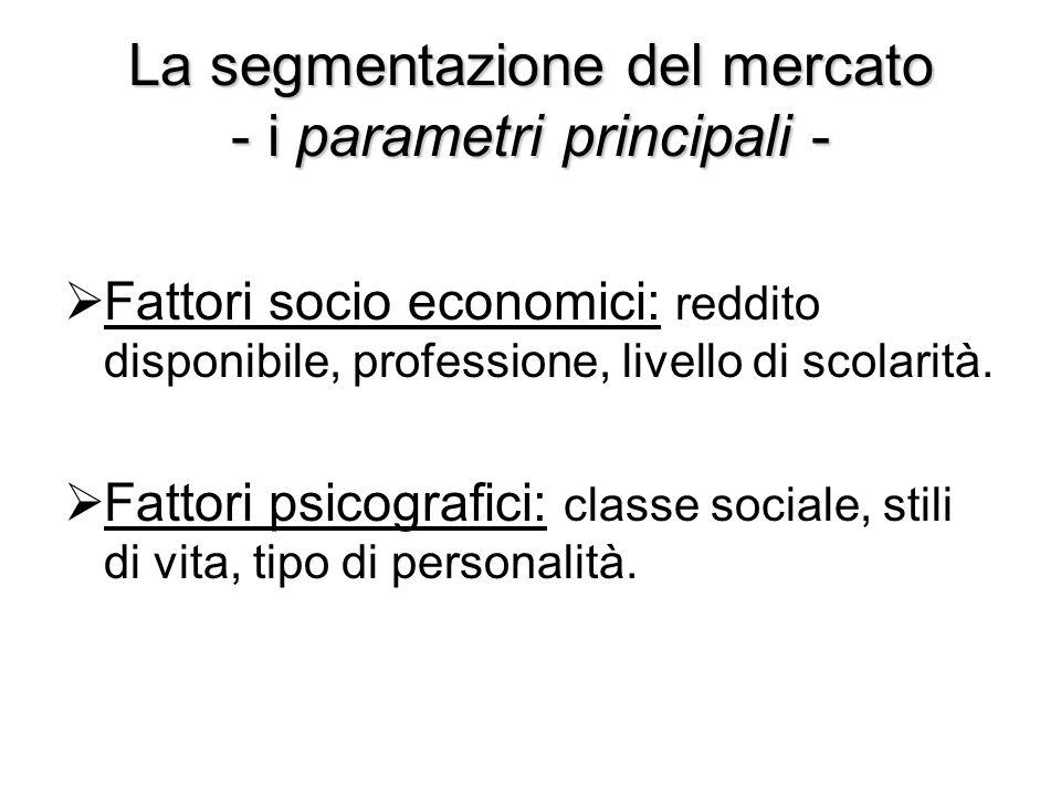 La segmentazione del mercato - i parametri principali -  Fattori socio economici: reddito disponibile, professione, livello di scolarità.  Fattori p