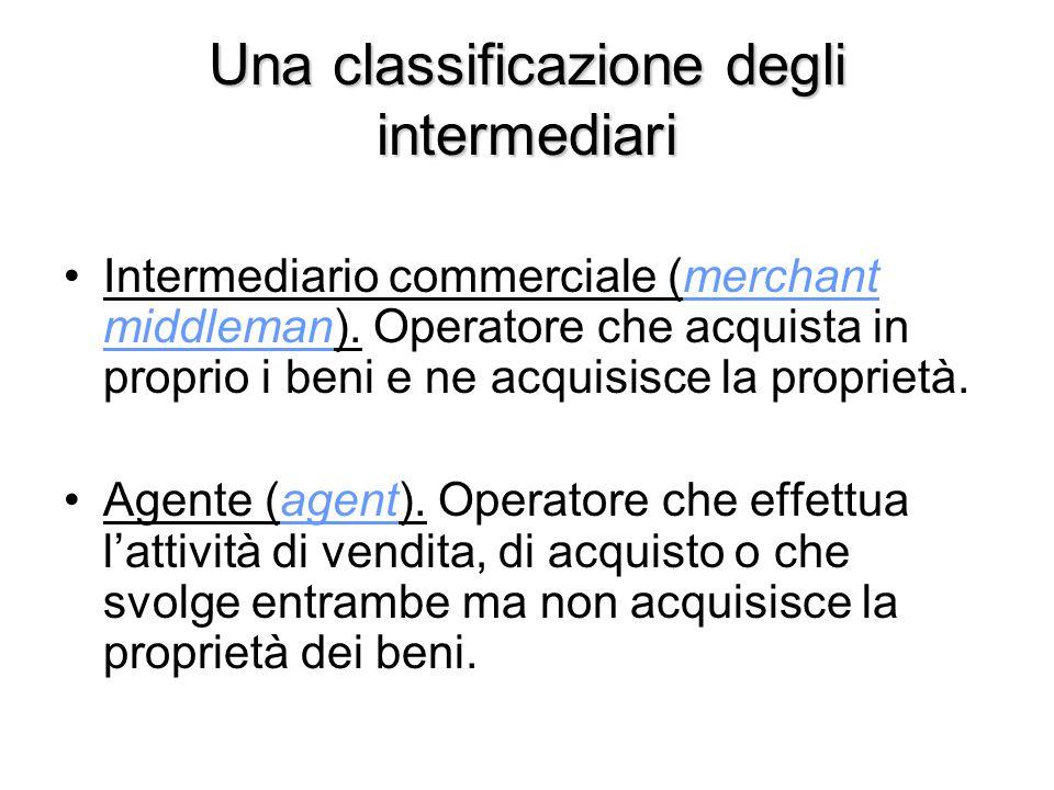 Una classificazione degli intermediari Intermediario commerciale (merchant middleman). Operatore che acquista in proprio i beni e ne acquisisce la pro