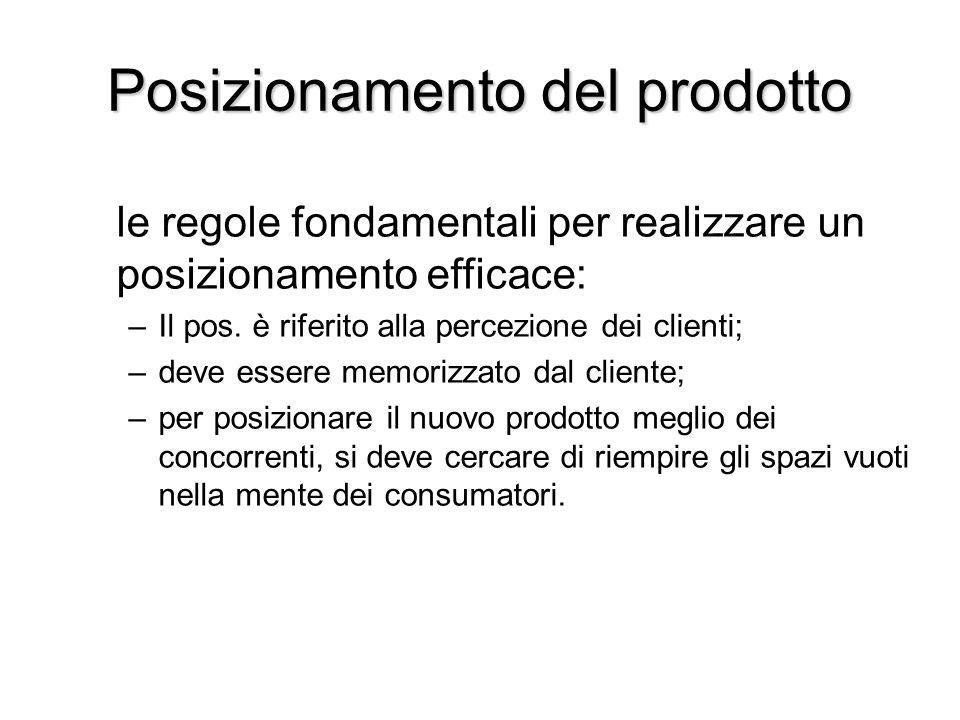 Posizionamento del prodotto le regole fondamentali per realizzare un posizionamento efficace: –Il pos. è riferito alla percezione dei clienti; –deve e