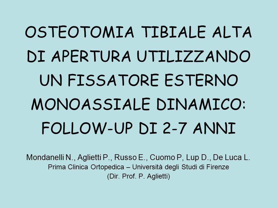 OSTEOTOMIA TIBIALE ALTA DI APERTURA UTILIZZANDO UN FISSATORE ESTERNO MONOASSIALE DINAMICO: FOLLOW-UP DI 2-7 ANNI Mondanelli N., Aglietti P., Russo E., Cuomo P, Lup D., De Luca L.