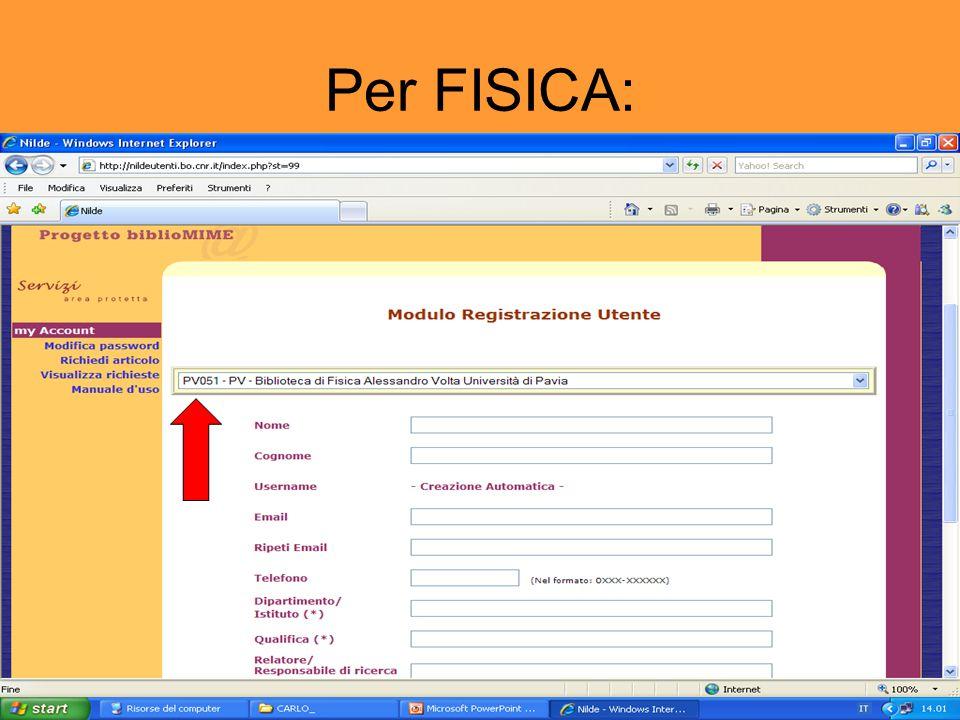 Per FISICA: