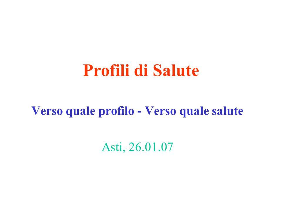 Profili di Salute Verso quale profilo - Verso quale salute Asti, 26.01.07