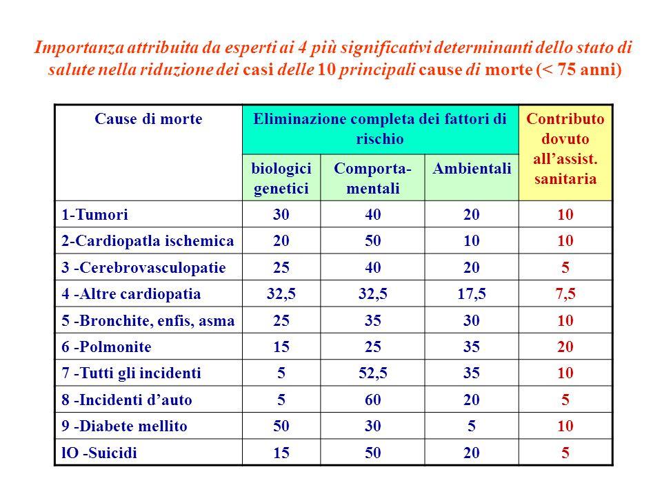 The World Health Report WHO, 2002 Le priorità in Europa