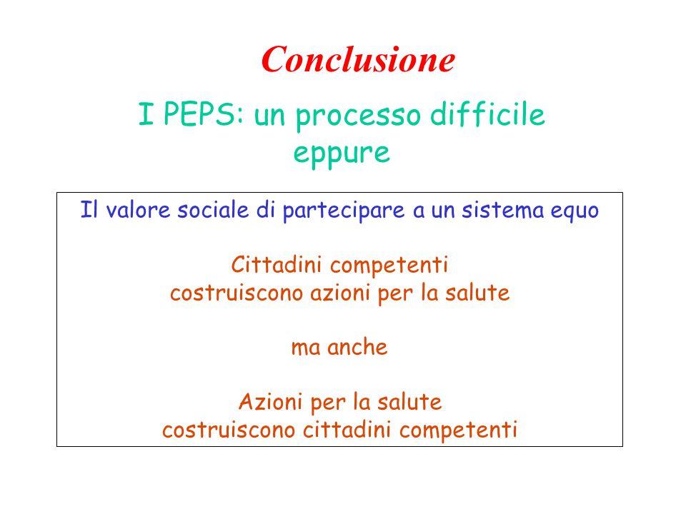 I PEPS: un processo difficile eppure Il valore sociale di partecipare a un sistema equo Cittadini competenti costruiscono azioni per la salute ma anche Azioni per la salute costruiscono cittadini competenti Conclusione