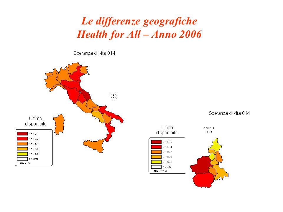 Le differenze geografiche Health for All – Anno 2002