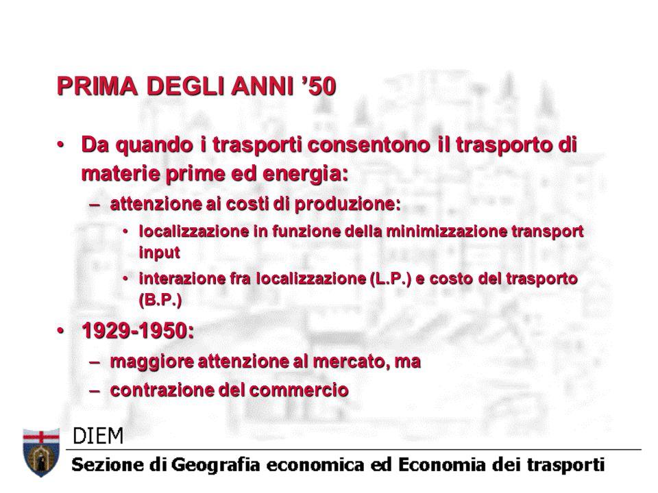PRIMA DEGLI ANNI '50 Da quando i trasporti consentono il trasporto di materie prime ed energia:Da quando i trasporti consentono il trasporto di materi