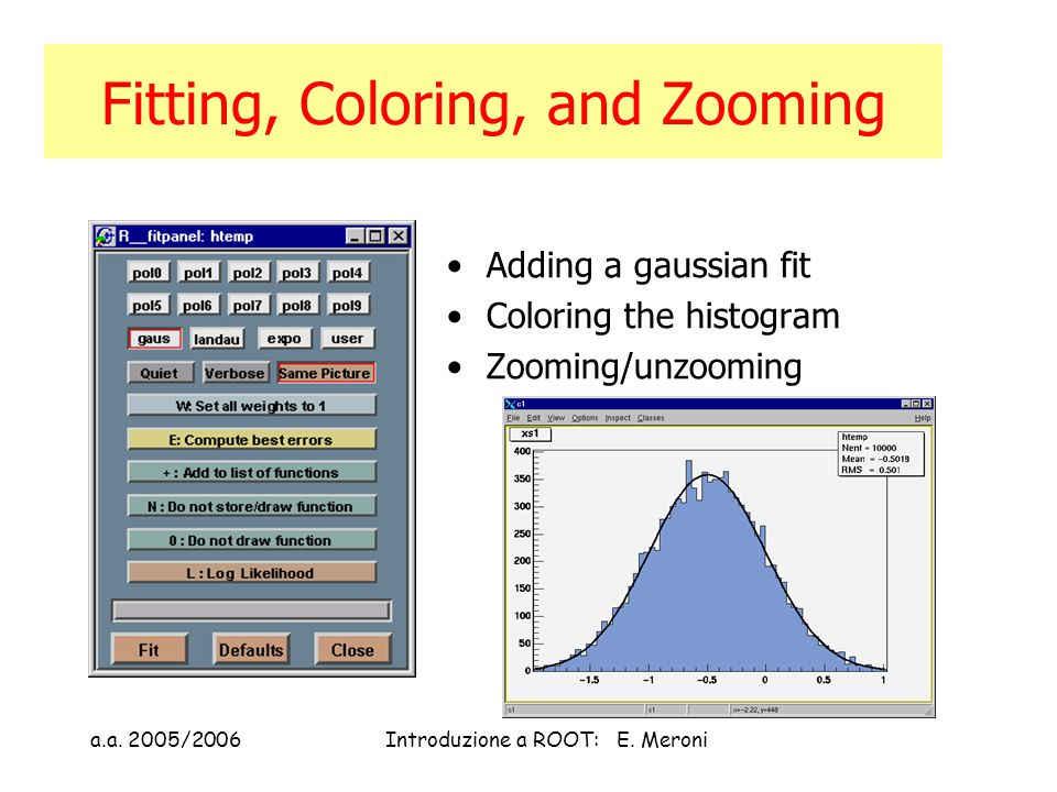 a.a. 2005/2006Introduzione a ROOT: E. Meroni Fitting, Coloring, and Zooming Adding a gaussian fit Coloring the histogram Zooming/unzooming
