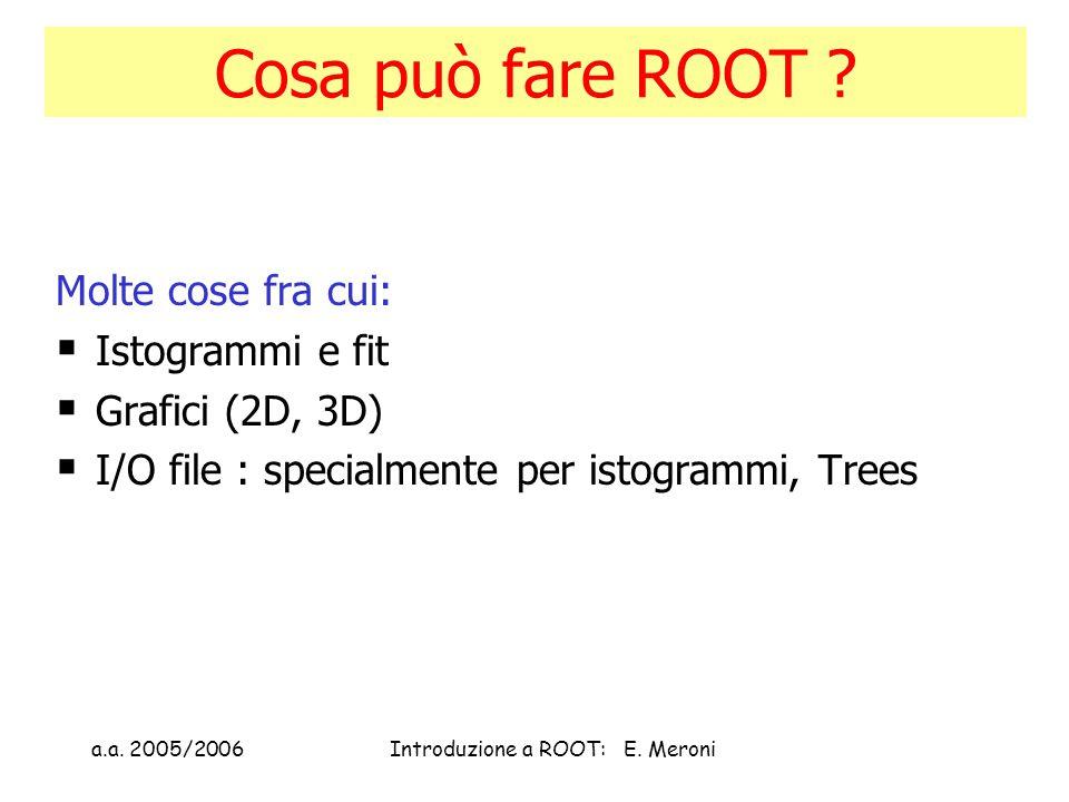a.a. 2005/2006Introduzione a ROOT: E. Meroni Cosa può fare ROOT .