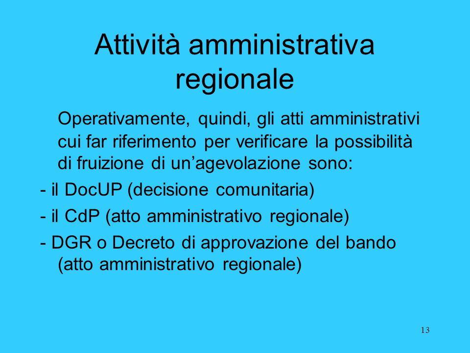 13 Attività amministrativa regionale Operativamente, quindi, gli atti amministrativi cui far riferimento per verificare la possibilità di fruizione di