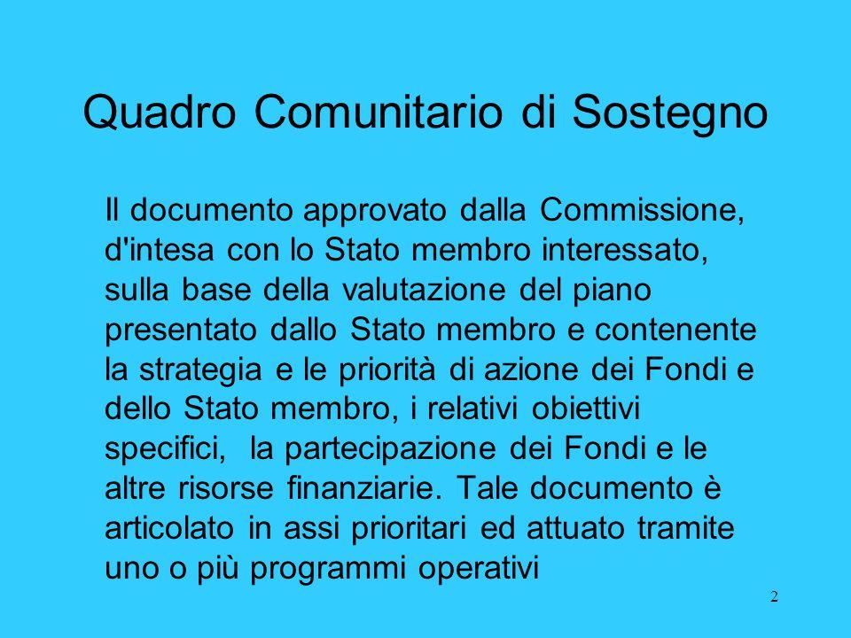 2 Quadro Comunitario di Sostegno Il documento approvato dalla Commissione, d'intesa con lo Stato membro interessato, sulla base della valutazione del