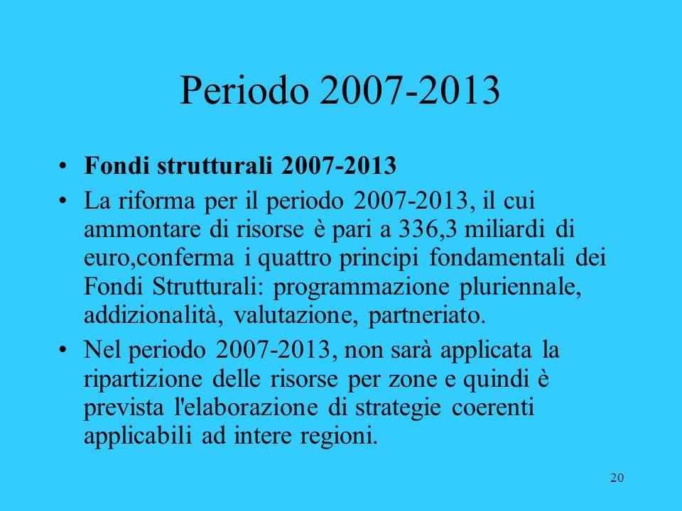20 Periodo 2007-2013 Fondi strutturali 2007-2013 La riforma per il periodo 2007-2013, il cui ammontare di risorse è pari a 336,3 miliardi di euro,conf