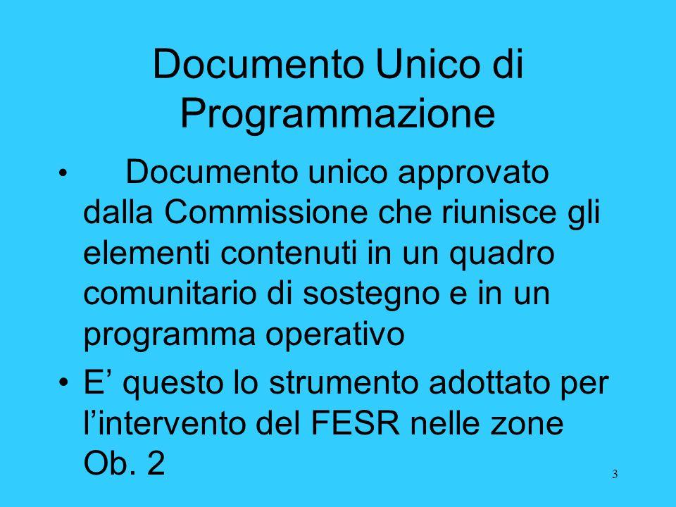 3 Documento Unico di Programmazione Documento unico approvato dalla Commissione che riunisce gli elementi contenuti in un quadro comunitario di sosteg