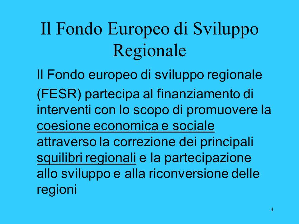 4 Il Fondo Europeo di Sviluppo Regionale Il Fondo europeo di sviluppo regionale (FESR) partecipa al finanziamento di interventi con lo scopo di promuo