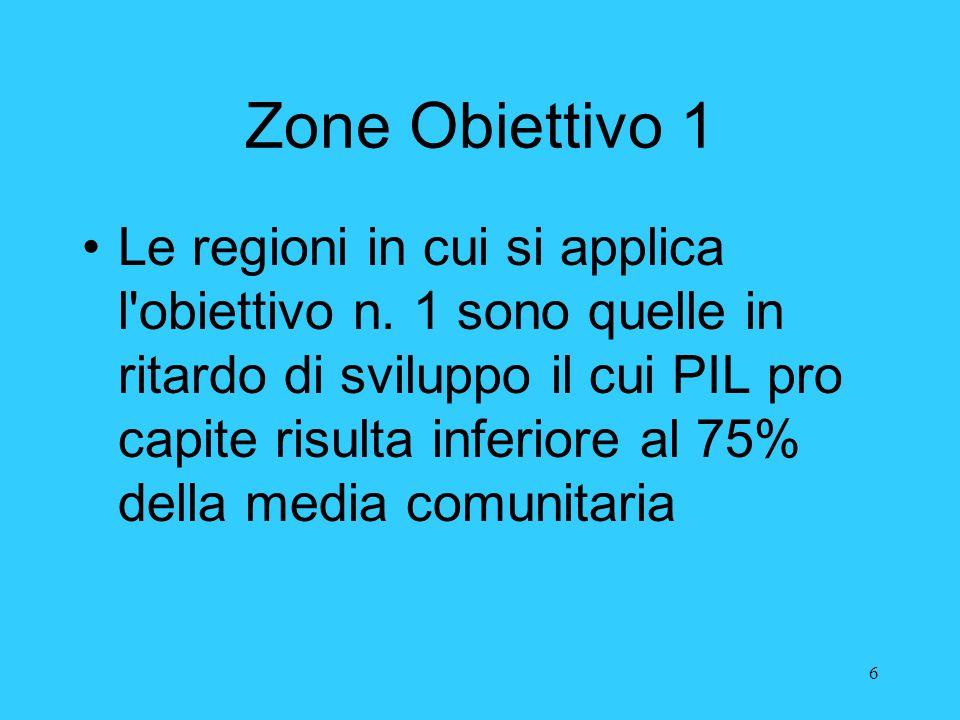 6 Zone Obiettivo 1 Le regioni in cui si applica l'obiettivo n. 1 sono quelle in ritardo di sviluppo il cui PIL pro capite risulta inferiore al 75% del