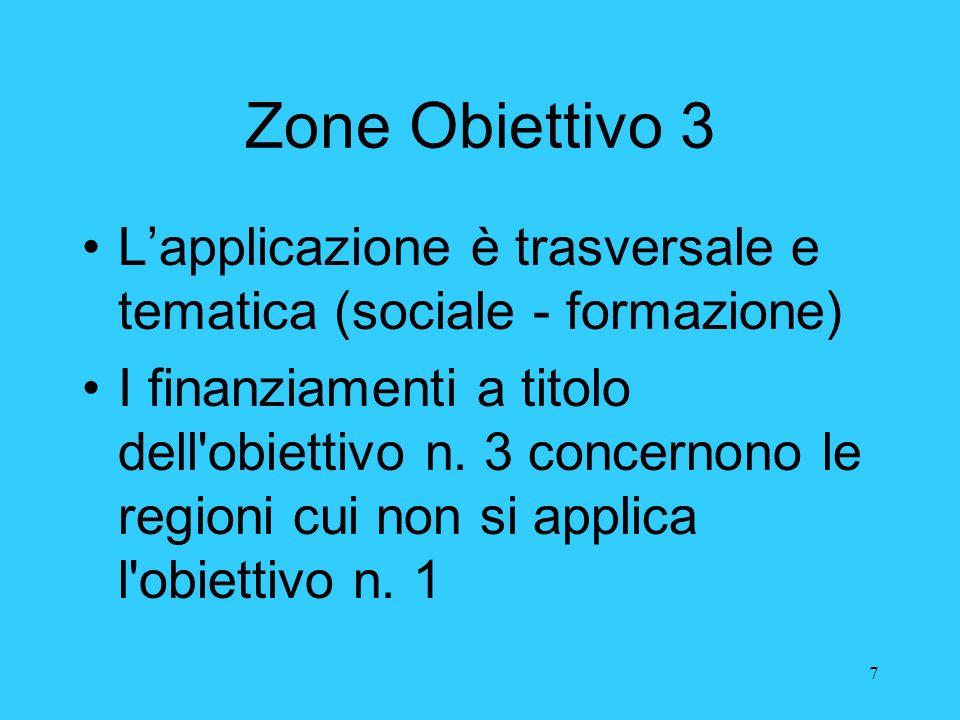 7 Zone Obiettivo 3 L'applicazione è trasversale e tematica (sociale - formazione) I finanziamenti a titolo dell'obiettivo n. 3 concernono le regioni c