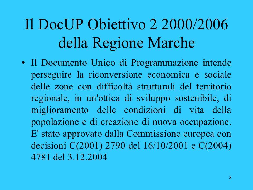 8 Il DocUP Obiettivo 2 2000/2006 della Regione Marche Il Documento Unico di Programmazione intende perseguire la riconversione economica e sociale del