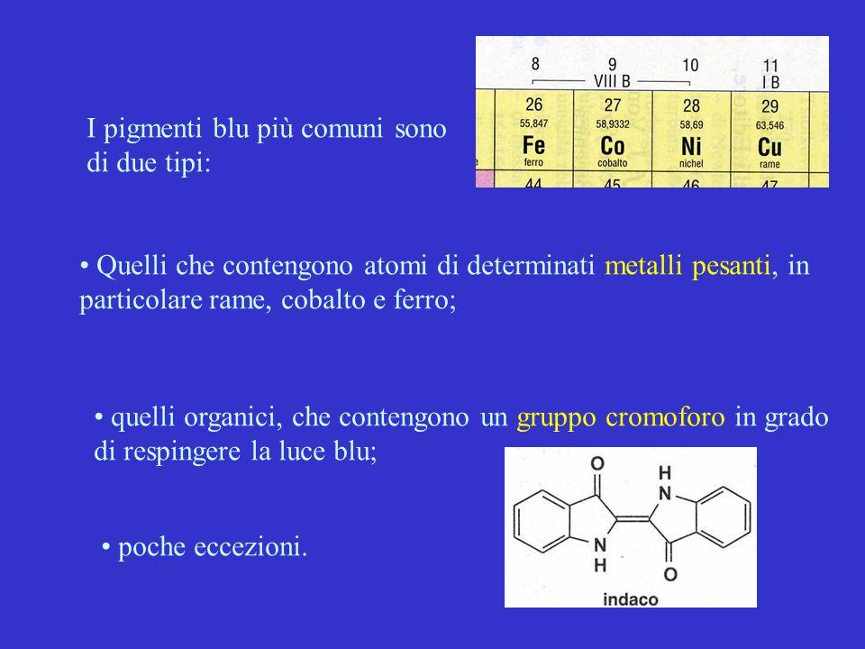 I pigmenti blu più comuni sono di due tipi: Quelli che contengono atomi di determinati metalli pesanti, in particolare rame, cobalto e ferro; quelli o
