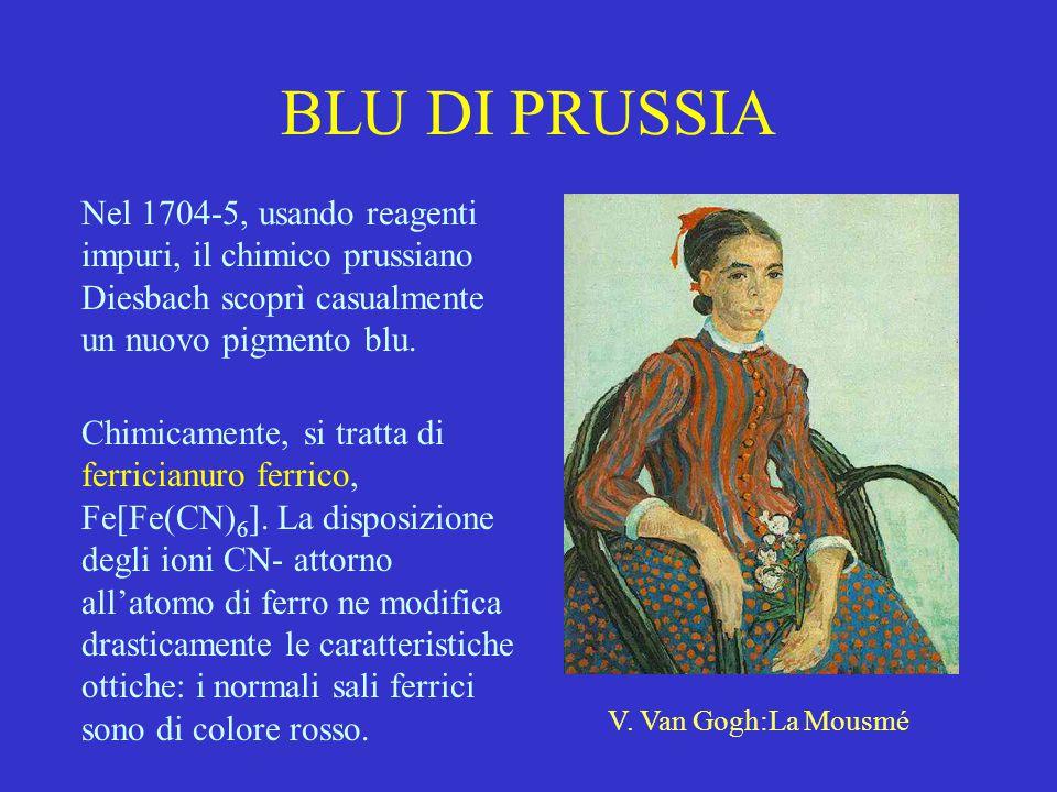 BLU DI PRUSSIA Nel 1704-5, usando reagenti impuri, il chimico prussiano Diesbach scoprì casualmente un nuovo pigmento blu. Chimicamente, si tratta di