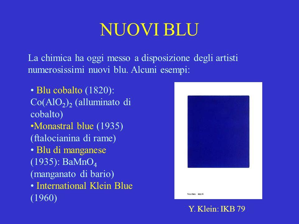 NUOVI BLU La chimica ha oggi messo a disposizione degli artisti numerosissimi nuovi blu. Alcuni esempi: Blu cobalto (1820): Co(AlO 2 ) 2 (alluminato d