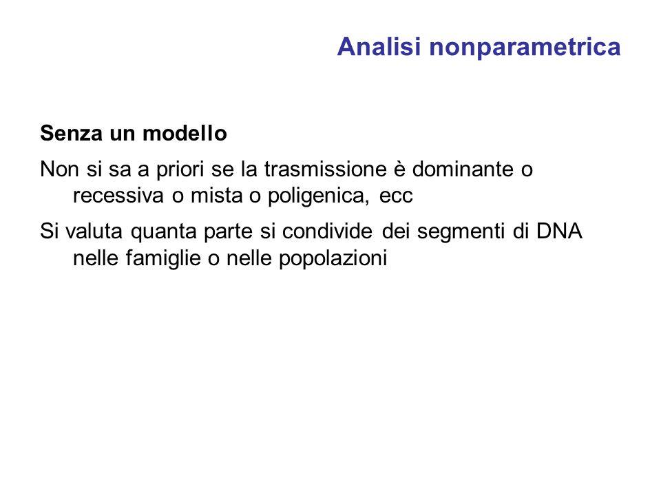 Analisi nonparametrica Senza un modello Non si sa a priori se la trasmissione è dominante o recessiva o mista o poligenica, ecc Si valuta quanta parte si condivide dei segmenti di DNA nelle famiglie o nelle popolazioni